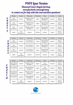 P90X Lean Workout Guide! easy to print