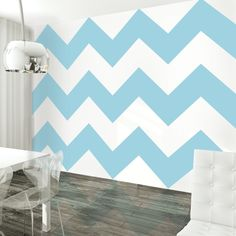 Chevron Aqua/White Removable Wallpaper is peel and stick. They are the easiest way to decorate any room, nook or cranny. Easy to remove and reuse and require no tools. No fuss, no mess!