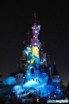 Blue Fairy projected onto Cinderella castle Disney Parks, Walt Disney World, Disneyland Paris Castle, Blue Fairy, Cinderella Castle, Going On A Trip, Walt Disney Company, Disney Magic, Disney Castles