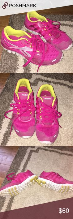 Reebok Cross Trainers pink and yellow size 8 Amazing , super lightweight and fantastic for all machines and free weights ..I purchased for the gym at my office (only clean sneakers allowed and I lived 1.5 hours away so never went on weekends) - they have barley been worn at I hurt my back and hip requiring surgery - retail$99.99 - one inner sole has small nibble marks from our newly adopted dog- no other damage to the sneakers anywhere!!! Size tags pristine as well on tongue - worn about a…