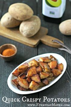 Quick Crispy Home Fries made with avocado oil, salt, pepper and paprika. Super crispy and on your plate in under 30 minutes!  #