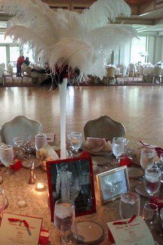 Wedding, Flowers, Reception, Red, Gold, Roses, Centerpieces, Decorations