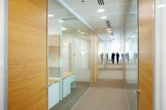 Single Glazed Glass Walls with Wood Doors Glazed Glass, Environmental Design, Wood Doors, Office Interiors, Office Partitions, Glass Walls, Layout, Building Designs, Dublin