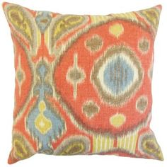 "The Pillow Collection Janvier Ikat Linen Throw Pillow Color: Grenadine, Size: 24"" x 24"""