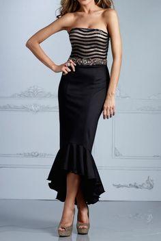 Terani  Ruffle Hem Black Elegant Dress C2084