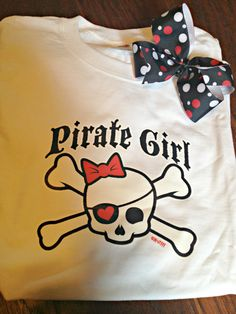 Pirate Girl T-shirt with matching hair bow on Etsy, $12.00