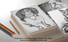 How would you color in this happy Spaniel? Hand drawn in classic grayscale, this coloring page is the perfect way to relax, stay creative and even hone your artistic skill! See more printable coloring pages @ ArtistryByLisaMarie.Etsy.com