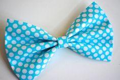 Aqua blue Hair Bow, Fabric Hair Bows, Hair Bows for teens