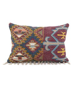 Blue & Purple Embroidered Jacquard Throw Pillow
