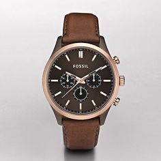 """Cool Stuff We Like ------- << Original Comment >> ------- Fossil """"Walter"""" Brown Leather Watch #menswatchesfossil"""