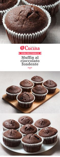 Muffin al cioccolato fondente Gourmet Recipes, Cake Recipes, Cooking Recipes, American Cake, Chocolate Recipes, Cake Cookies, Sweet Tooth, Bakery, Food And Drink