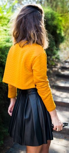 Mustard Cropped Top  by Collage Vintage + pleated leather skirt!