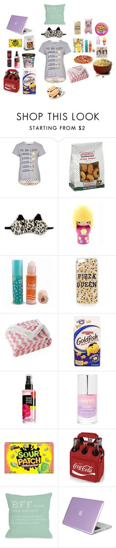 """Sleepover with BFFs"" by leeloowheeler ❤ liked on Polyvore featuring Topshop, Cotton Candy, P.J. Salvage, Pixie, Lala + Bash, claire's, Mad Love, Picnic Time, One Bella Casa and Insten"