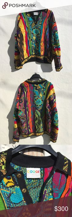 """Men Vintage Rare Coogi sweater Preown Vintage super rare """"Hidden faces"""" Coogi sweater (one of a kind) Amazing condition. Handmade in Australia  fully knitted, no missed stitching. No stains, rips, tears or imperfections. VERY RARE PIECE OF ITEM!! One of one. Well known brand worn by Biggie smalls, McGregor and many other Artists. Willing to negotiate if paying with ️️.  Just such an incredible piece of art on this knitted sweater!! COOGI Jackets & Coats"""