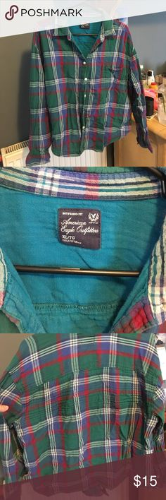 American Eagle flannel AE flannel worn only a few times. Green, red, purple, blue plaid. Size XL. American Eagle Outfitters Tops Button Down Shirts