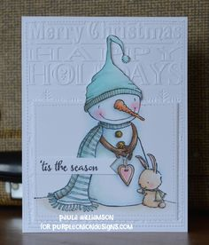 Stacey Yacula Studio - Warm Hearted (snowman & bunny) - purpleoniondesigns