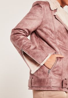 Nail daytime chic vibes with this pink classic pilot style jacket.