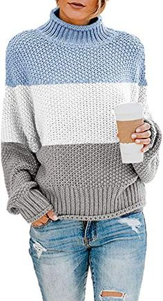 Shop the latest collection of Rainlin Women Turtleneck Sweater Color Block Long Sleeve Oversized Pullover Loose Chunky Knit Jumper Tops from the most popular stores - all in one place. Blue Sweaters, Pullover Sweaters, Sweaters For Women, Long Sweaters, Oversized Pullover, Oversized Sweaters, Chunky Cable Knit Sweater, Loose Sweater, Chunky Knits