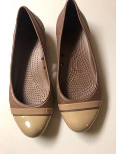68122496546a Crocs Womens Shoes Ballet Flats Black Rubber Shiny Cap Toe Size 7 Beige   fashion