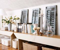 Loads of tips for how to organize, decorate and add style to a small bedroom. Don't let a knee wall be get you down (pun intended! Add a bench for display space. The empty space below becomes a great place for pretty storage baskets. Attic Renovation, Attic Remodel, Attic Apartment, Attic Rooms, Apartment Therapy, Vintage Shutters, Repurposed Shutters, Attic House, Attic Floor