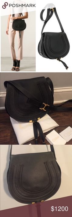 """•Chloe• Medium Marcie Leather Crossbody Bag Chloe Medium Leather Crossbody Bag in Black with Gold Hardware. Authentic. In Excellent Used Condition. Adjustable Strap, Interior Wall Pocket; Slip Pocket Beneath Flap. Comes with Dust Bag, Card and Care Instructions. 11"""" W x 10"""" H x 5"""" D, 17.5""""- 21"""" Cross-body Strap Drop. Made in Italy. ✖️No Trades✖️ Chloe Bags Crossbody Bags"""