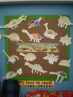 Our Dinosaur display! The children used paper plates to create their very own Dinosaurs!