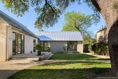 Rear courtyard for the new cottage shaded by a large 200-year-old oak tree.