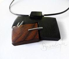 Wooden Necklace. Original Handcrafted: black ebony rose wood