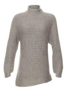 Helmut Lang Articulated Wool Sweater - This luxurious sweater from Helmut Lang features a ribbed knit pattern which falls gracefully into articulated sleeves. Made out of a decadent alpaca and silk blend for ultimate comfort.