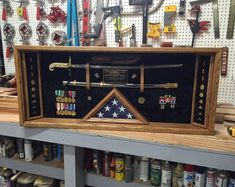 Military Sword Shadow box Display Case with lighting FREE Flag Display Case, Shadow Box Display Case, Fabric Display, Military Retirement, Military Gifts, Military Shadow Box, Military Memorabilia, Sword, Usmc