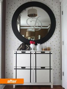 Before & After: DIY Makeover with Small, Chic Changes | Apartment Therapy Black electrical tape used on an IKEA cabinet.