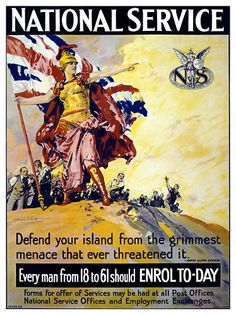 "December 1916 - British National Service Department Established Pictured - ""Enrol to-day."" Britain's new Prime Minister, David Lloyd George, had promised to streamline and increase Britain's war. Ww1 Propaganda Posters, British National, Neutral, World War One, British History, Vintage Posters, Vintage Images, Retro, Amazon Kindle"