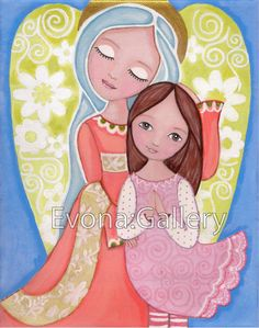 Folk Art  Painting, Guardian Angel , Print  8x10inches, Mixed Media, Wall Decore by Evona