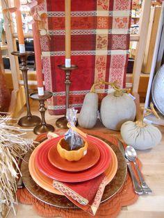 Fall thanksgiving using Fiestaware, burlap pumpkins, pumpkin ramekins and a chocolate turkey | thecupboard.net