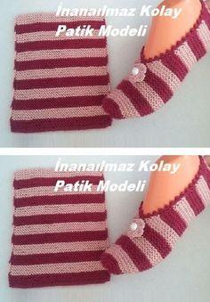 Knit Slippers Free Pattern, Crochet Slipper Pattern, Knitted Slippers, Crochet Shoes, Diy Crafts Knitting, Diy Crafts Crochet, Baby Knitting Patterns, Knitting Designs, Crochet Patterns