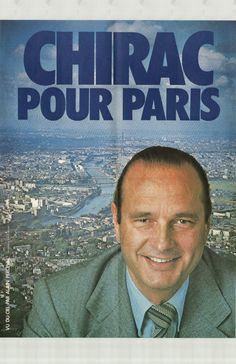 Affiche Chirac 1977 - Municipales à Paris. Il devient  Maire de Paris  20 mars 1977