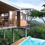 A holiday house by architect Benjamin Garcia Saxe that overlooks the natural jungle and the ocean of Costa Rica. This beautiful holiday house in Costa Rica Costa Rica, Jungle House, House On Stilts, Sweet Home, Floating House, Boutique Homes, Vacation Home Rentals, Prefab Homes, Tropical Houses