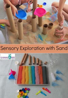 Hours of fun Sensory exploration with Sand, cardboard tubes, funnels, scoops, bottles, bottle tops and so much more