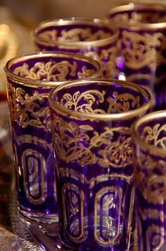 "ledecorquejadore: "" 1001 Night ~ Arabian High tea (via Magical Morocco) "" Moroccan Decor, Moroccan Style, Purple Rain, Purple Gold, Purple Glass, Deep Purple, Mamounia Marrakech, Jasmin Party, Tea Glasses"