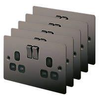 Knightsbridge Screwless Flatplate 2 Gang 13A Switch Socket Black Nickel 5 PACK