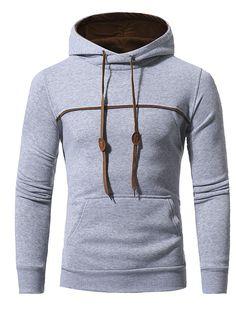 #BerryLook - #berrylook Contrast Trim Kangaroo Pocket Men Hoodie - AdoreWe.com