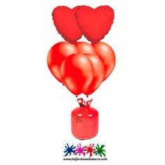 Pack bombona de helio Maxi, 50 globos y 2 corazones rojos.