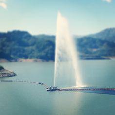 月山湖大噴水 山形