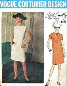 Vogue Pattern 1928 Vintage 60's Sybil Connolly of Dublin Geometric Dress - Two Versions!