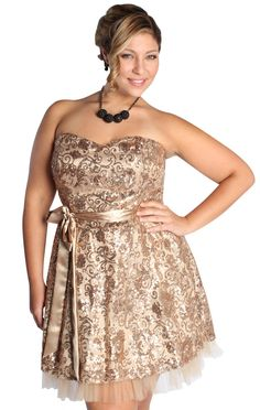 plus size homecoming dress with all over sequin scroll design  $82.50