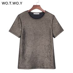 1a9482081a86e WOTWOY Summer Shiny Lurex Tops Women Basic T-Shirt Casual O-Neck Tee Shirt  Woman Solid Cotton T Shirt Short Sleeve Elastic 2017