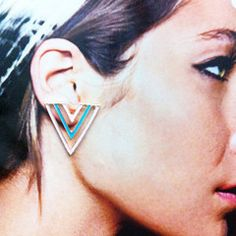 Pink & Blue Triangle Stud Earrings. Rp 55,000 or $5.5. Dimension: 2.5 x 2.5 cm. Color: Pink and blue with gold trim. FREE shipping around Indonesia. Worldwide shipping. SHOP online www.reginagarde.com