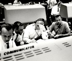 Working inside the Flight Control Area are Mercury astronauts (from left) Alan Shepard, Gus Grissom, John Glenn and Gordon Cooper. photo courtesy of NASA. Gordon Cooper, Gus Grissom, Project Mercury, Apollo Space Program, John Glenn, Mission Control, Nasa Missions, Nasa History, Risky Business