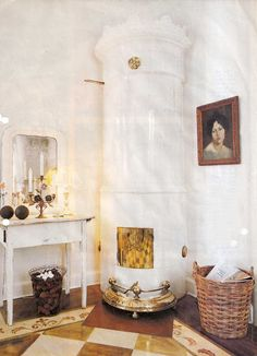 Swedish porcelain shell fireplace