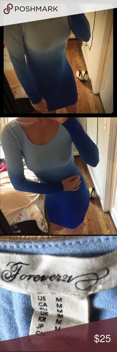 Forever 21 blue ombre dress Tight & light. Super cute long sleeve dress. Will need to wear pasties with it as the material is thin Forever 21 Dresses Long Sleeve
